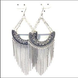 Lucky Brand Silver Moonrise Fringe Earrings